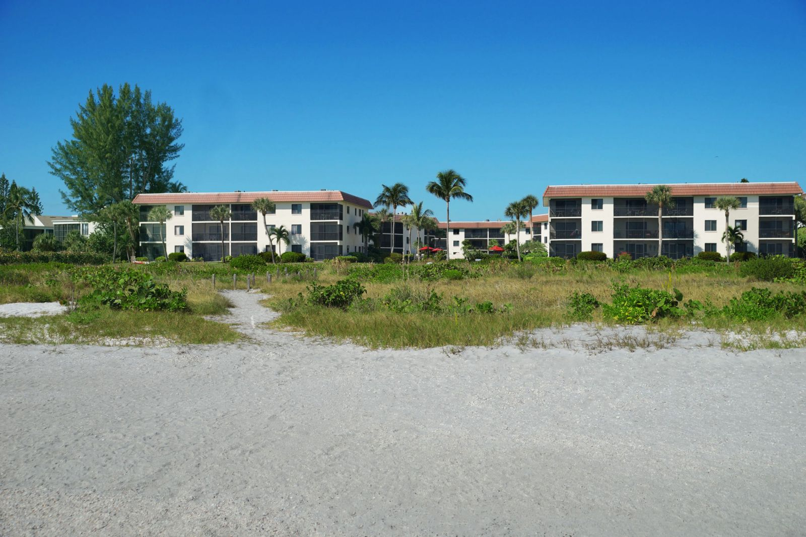 view of the sandalfoot complex from the beach