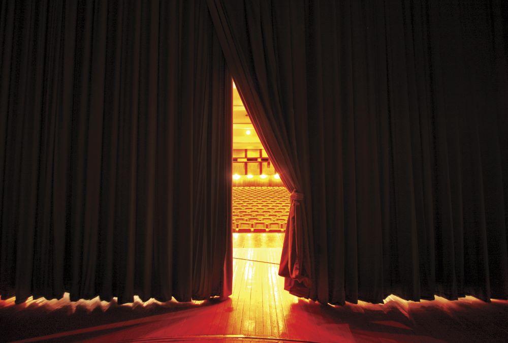 velvet curtain opening