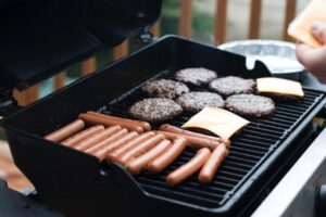 grill with meat on it
