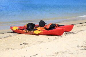 kayaks on the sanibel shore